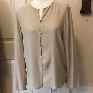Eileen Fisher 100% Silk Tan Long Sleeve Blouse